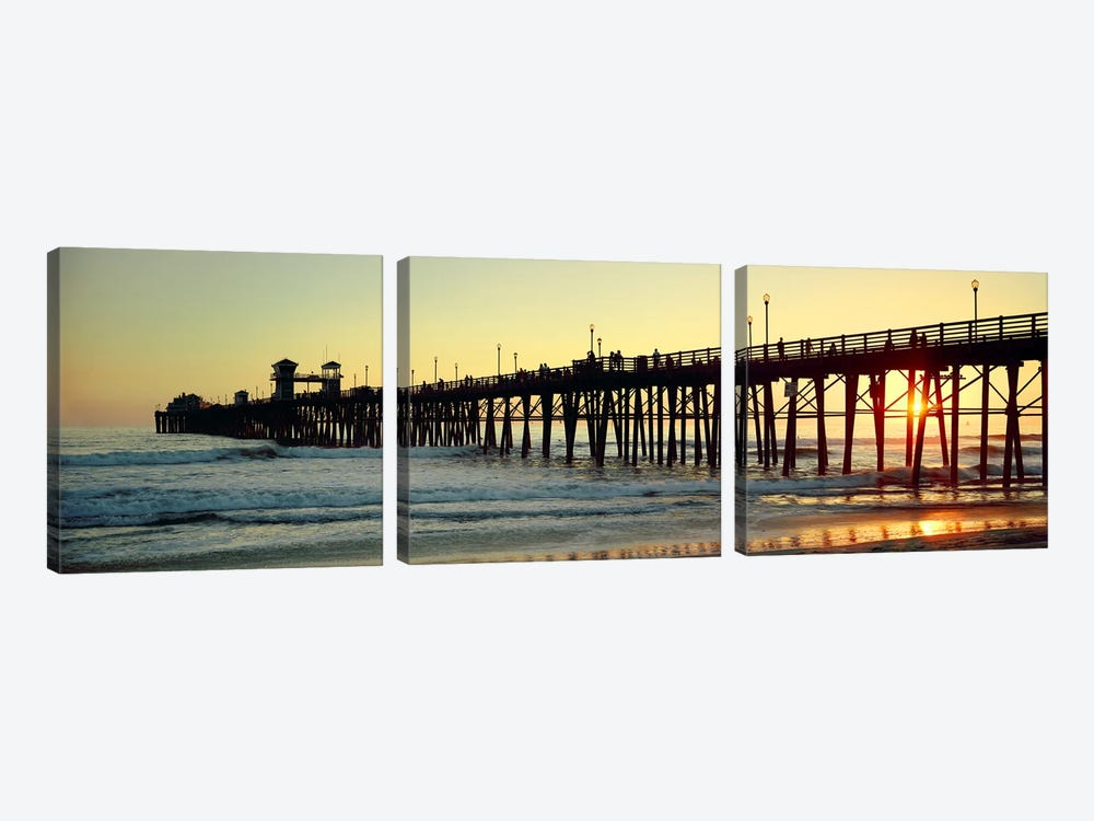 Pier in the ocean at sunsetOceanside, San Diego County, California, USA by Panoramic Images 3-piece Canvas Art Print