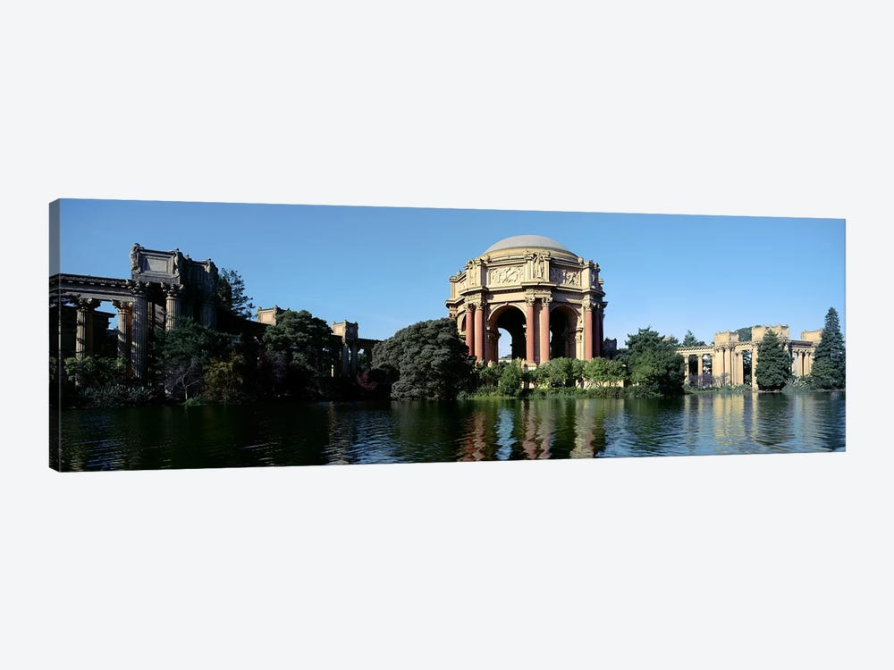 Reflection of an art museum in water, Palace Of Fine Arts, Marina District, San Francisco, California, USA by Panoramic Images 1-piece Canvas Wall Art