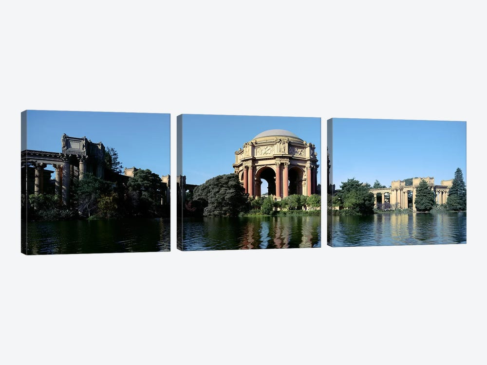 Reflection of an art museum in water, Palace Of Fine Arts, Marina District, San Francisco, California, USA by Panoramic Images 3-piece Canvas Artwork