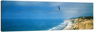 Paragliders over the coast, La Jolla, San Diego, California, USA Canvas Art Print