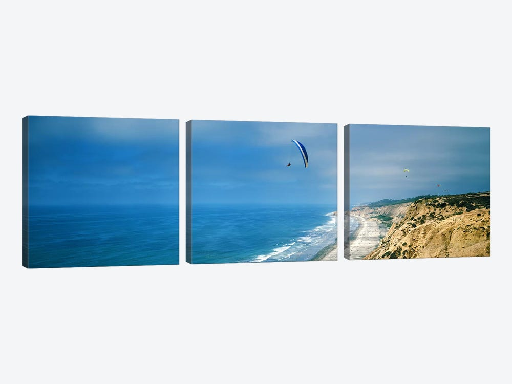 Paragliders over the coast, La Jolla, San Diego, California, USA by Panoramic Images 3-piece Canvas Print