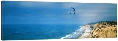 Paragliders over the coast, La Jolla, San Diego, California, USA Canvas Art Print