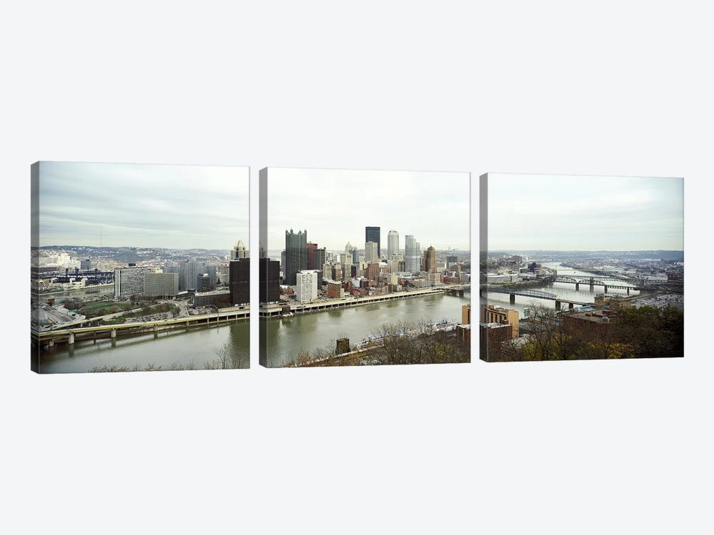 High angle view of a city, Pittsburgh, Allegheny County, Pennsylvania, USA by Panoramic Images 3-piece Canvas Print
