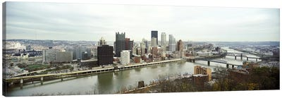 High angle view of a city, Pittsburgh, Allegheny County, Pennsylvania, USA Canvas Art Print