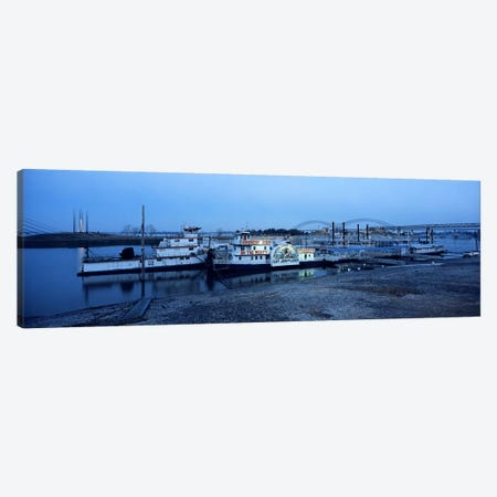 Boats moored at a harborMemphis, Mississippi River, Tennessee, USA Canvas Print #PIM7371} by Panoramic Images Canvas Print