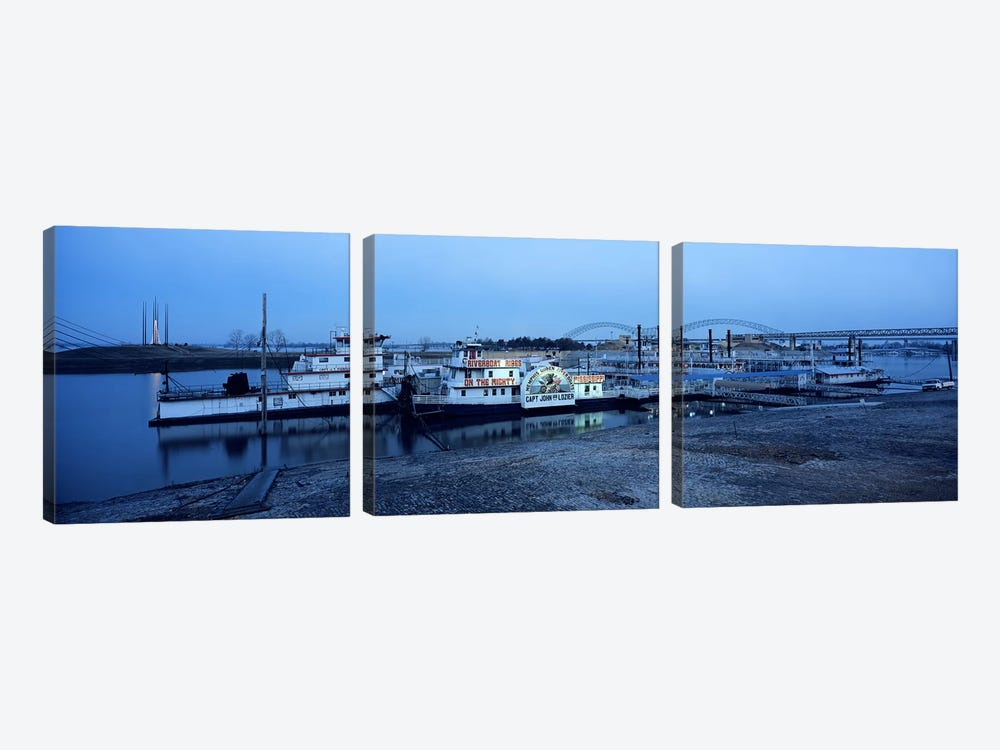 Boats moored at a harborMemphis, Mississippi River, Tennessee, USA by Panoramic Images 3-piece Canvas Art