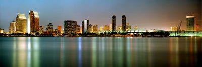 City Skyline At Night San Diego California Usa Canvas