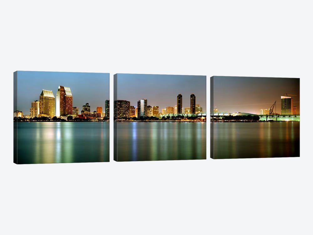 City skyline at night, San Diego, California, USA by Panoramic Images 3-piece Art Print