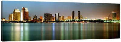 City skyline at night, San Diego, California, USA Canvas Art Print