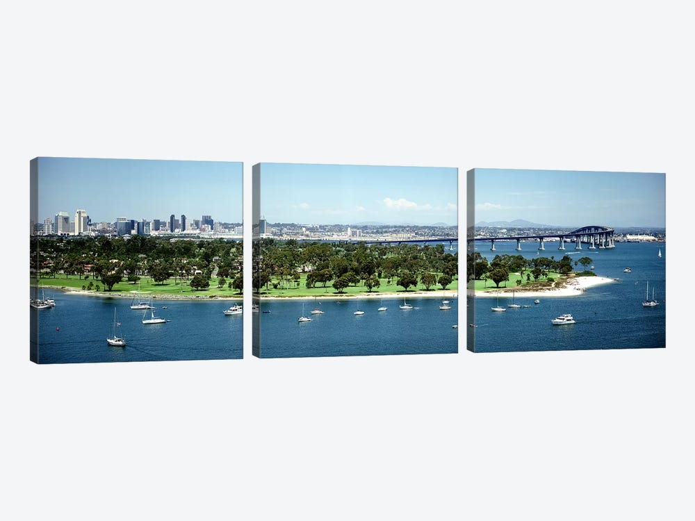 Bridge across a bayCoronado Bridge, San Diego, California, USA by Panoramic Images 3-piece Canvas Artwork