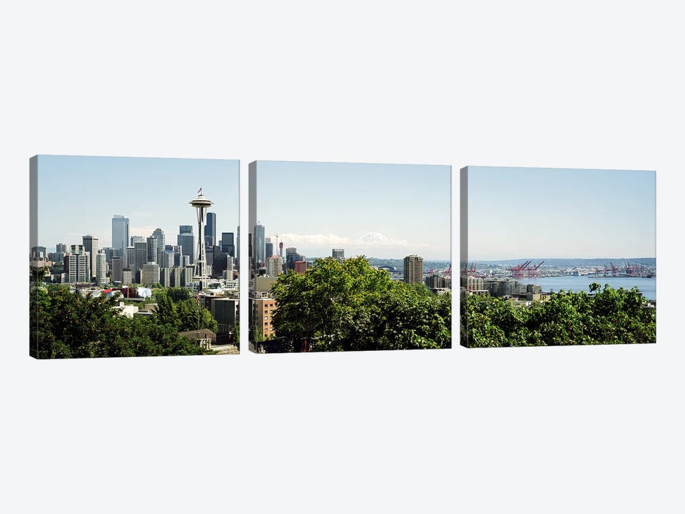 Skyscrapers in a citySpace Needle, Seattle, Washington State, USA 3-piece Canvas Art