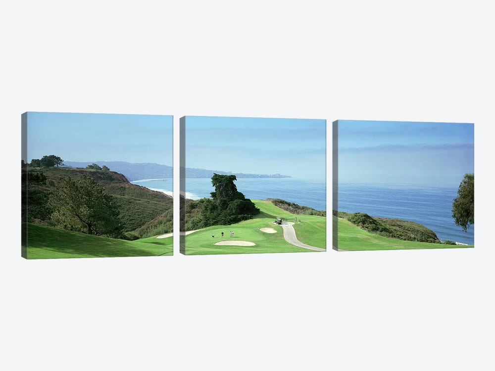 Golf course at the coastTorrey Pines Golf Course, San Diego, California, USA by Panoramic Images 3-piece Canvas Wall Art