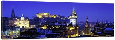 Illuminated Cityscape, Old Town, Edinburgh, Scotland, United Kingdom Canvas Print #PIM7378