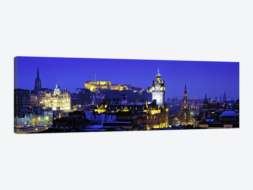 Illuminated Cityscape, Old Town, Edinburgh, Scotland, United Kingdom by Panoramic Images 1-piece Canvas Art Print