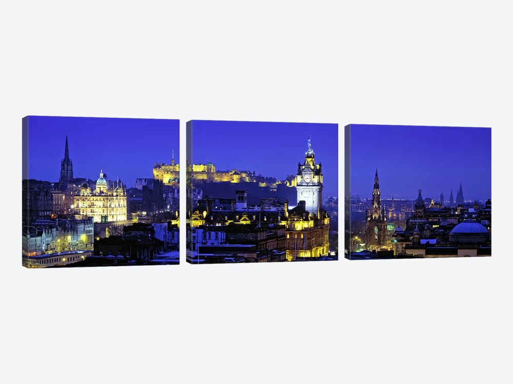 Illuminated Cityscape, Old Town, Edinburgh, Scotland, United Kingdom by Panoramic Images 3-piece Canvas Print