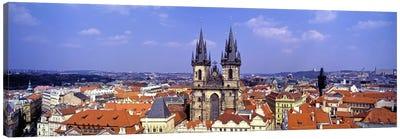 Church in a city, Tyn Church, Prague Old Town Square, Prague, Czech Republic Canvas Art Print