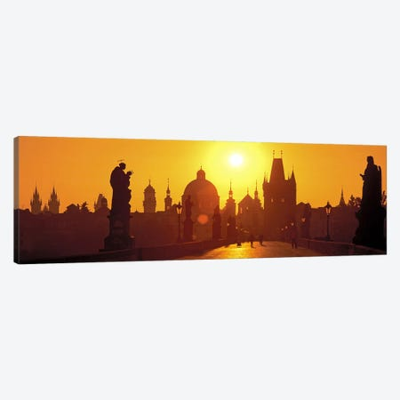 Statues along a bridgeCharles Bridge, Prague, Czech Republic Canvas Print #PIM7381} by Panoramic Images Canvas Wall Art