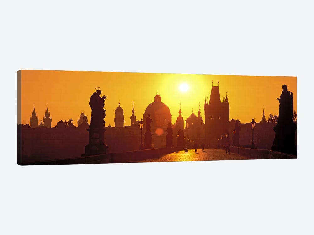 Statues along a bridgeCharles Bridge, Prague, Czech Republic by Panoramic Images 1-piece Canvas Art Print