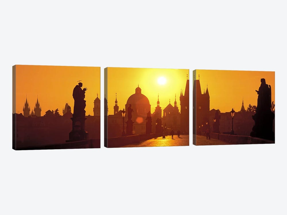 Statues along a bridgeCharles Bridge, Prague, Czech Republic by Panoramic Images 3-piece Canvas Print