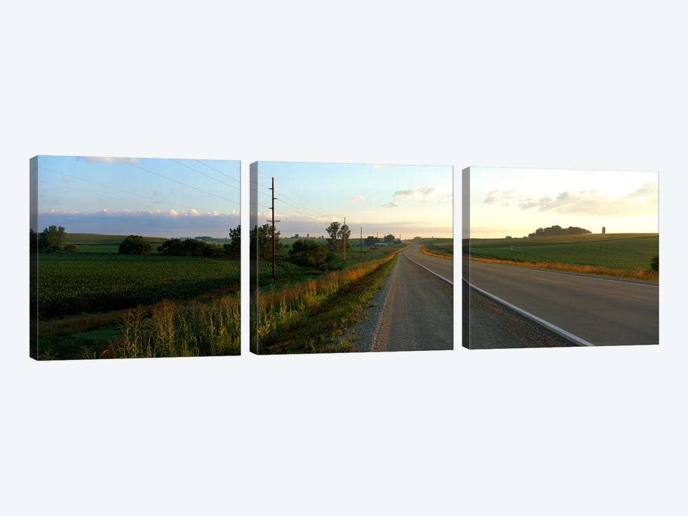 Highway Eastern IA by Panoramic Images 3-piece Canvas Art