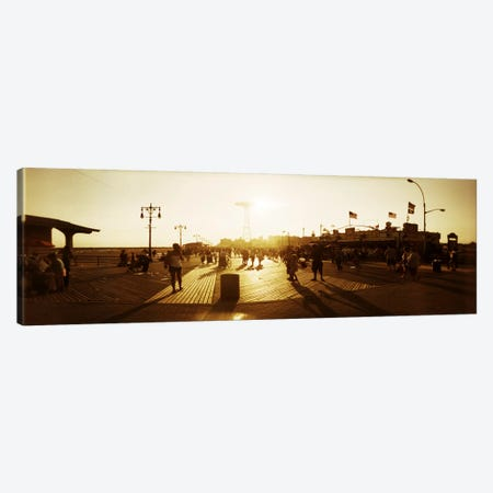 Tourists walking on a boardwalkConey Island Boardwalk, Coney Island, Brooklyn, New York City, New York State, USA Canvas Print #PIM7396} by Panoramic Images Canvas Art
