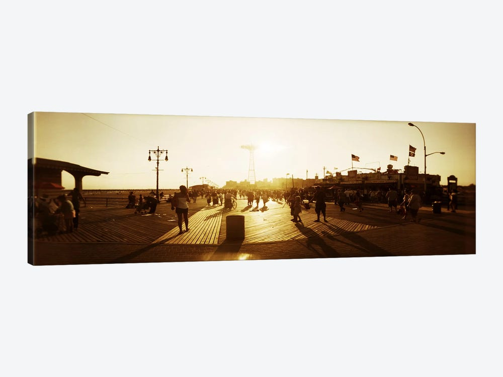 Tourists walking on a boardwalkConey Island Boardwalk, Coney Island, Brooklyn, New York City, New York State, USA by Panoramic Images 1-piece Art Print