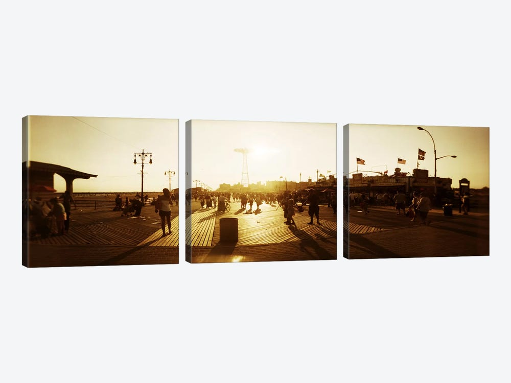 Tourists walking on a boardwalkConey Island Boardwalk, Coney Island, Brooklyn, New York City, New York State, USA by Panoramic Images 3-piece Canvas Art Print