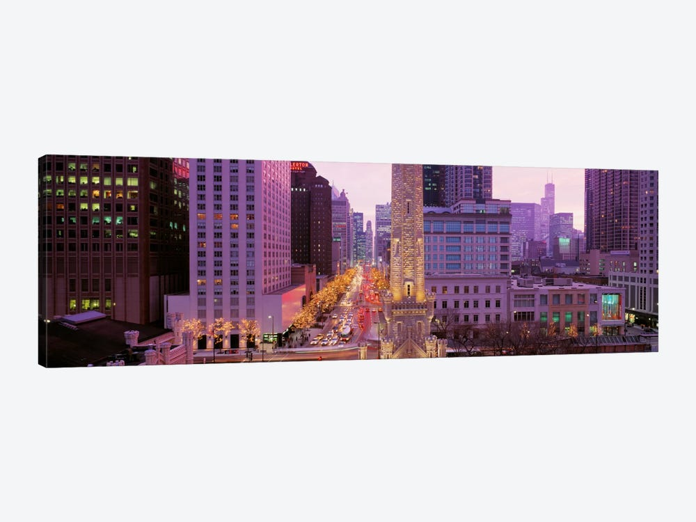 Twilight, Downtown, City Scene, Loop, Chicago, Illinois, USA by Panoramic Images 1-piece Canvas Art Print
