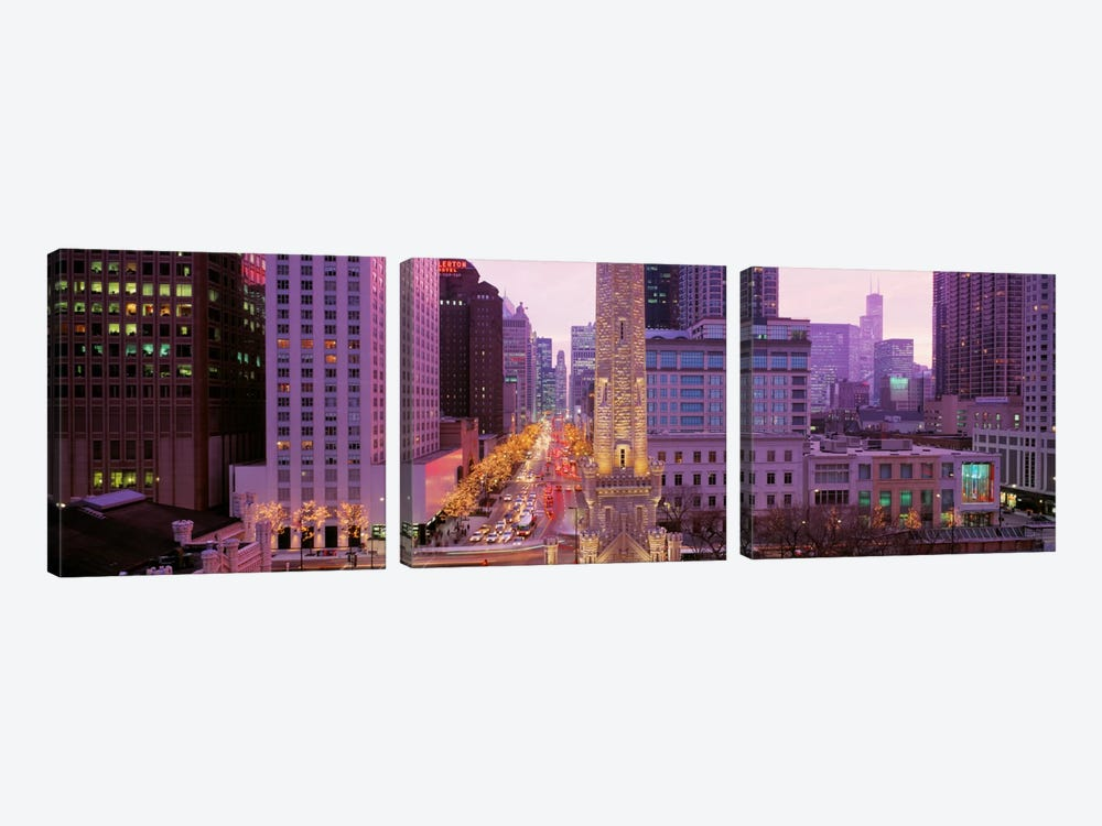 Twilight, Downtown, City Scene, Loop, Chicago, Illinois, USA 3-piece Canvas Art Print
