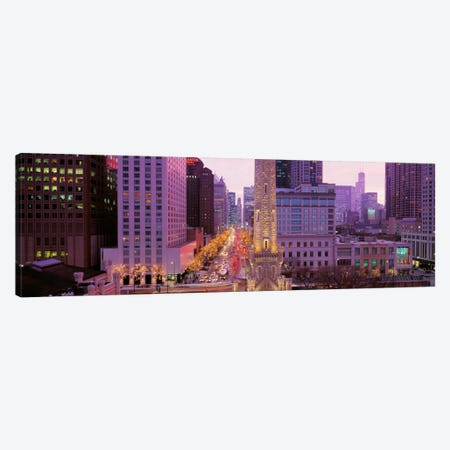 Twilight, Downtown, City Scene, Loop, Chicago, Illinois, USA Canvas Print #PIM739} by Panoramic Images Canvas Artwork