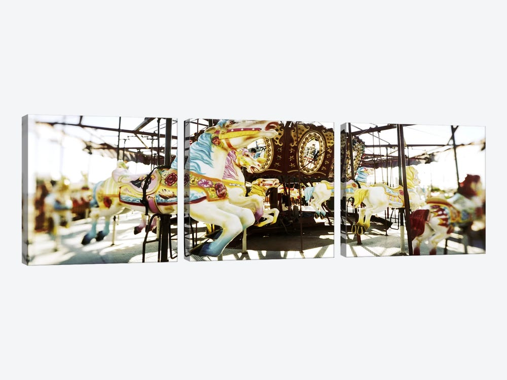 Close-up of carousel horsesConey Island, Brooklyn, New York City, New York State, USA by Panoramic Images 3-piece Art Print