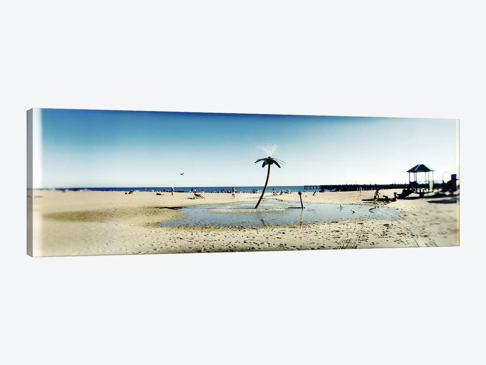 Palm tree sprinkler on the beachConey Island, Brooklyn, New York City, New York State, USA by Panoramic Images 1-piece Canvas Wall Art