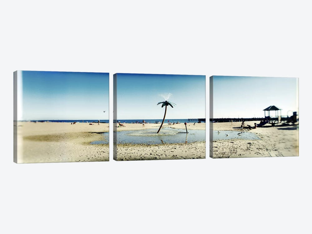Palm tree sprinkler on the beachConey Island, Brooklyn, New York City, New York State, USA by Panoramic Images 3-piece Canvas Art