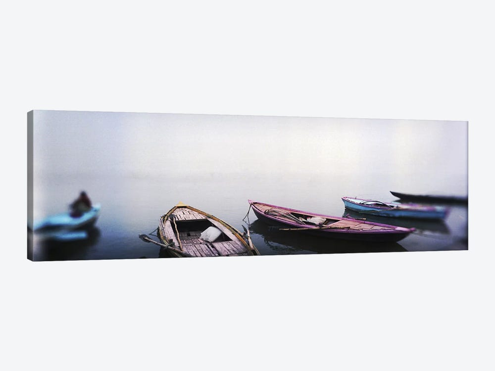 Row boats in a riverGanges River, Varanasi, Uttar Pradesh, India by Panoramic Images 1-piece Art Print