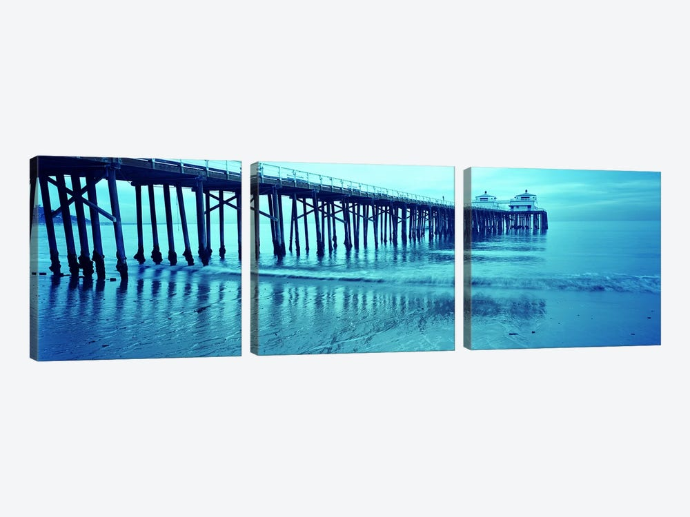 Pier at sunset, Malibu Pier, Malibu, Los Angeles County, California, USA by Panoramic Images 3-piece Canvas Wall Art