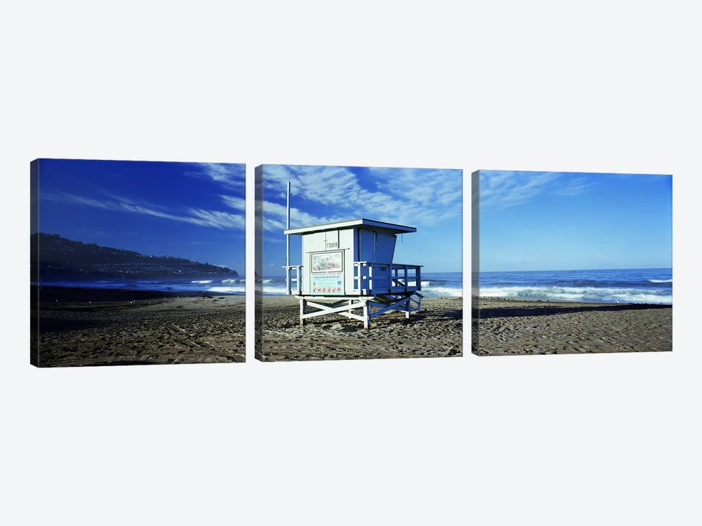 Lifeguard hut on the beach, Torrance Beach, Torrance, Los Angeles County, California, USA by Panoramic Images 3-piece Canvas Print