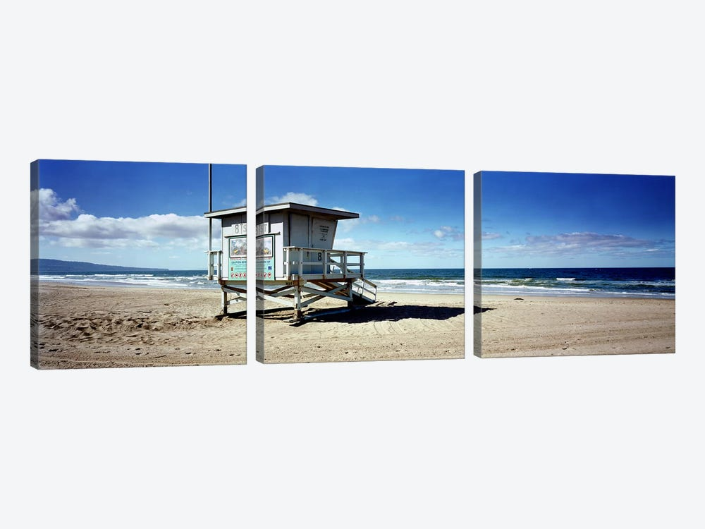 Lifeguard hut on the beach8th Street Lifeguard Station, Manhattan Beach, Los Angeles County, California, USA by Panoramic Images 3-piece Canvas Artwork