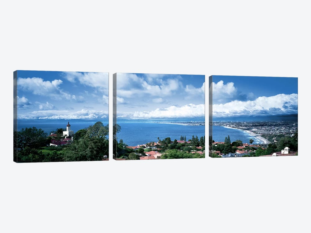 City at the coast, Palos Verdes Peninsula, Palos Verdes, Los Angeles County, California, USA by Panoramic Images 3-piece Canvas Print
