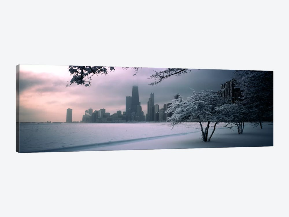 Snow covered tree on the beach with a city in the backgroundNorth Avenue Beach, Chicago, Illinois, USA by Panoramic Images 1-piece Canvas Art Print