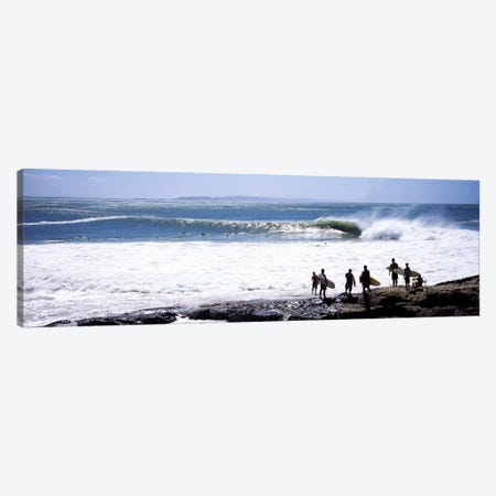 Silhouette of surfers standing on the beach, Australia #2 Canvas Print #PIM7410} by Panoramic Images Canvas Artwork