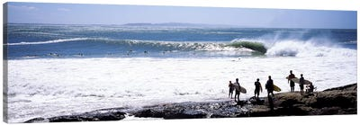 Silhouette of surfers standing on the beach, Australia #2 Canvas Art Print