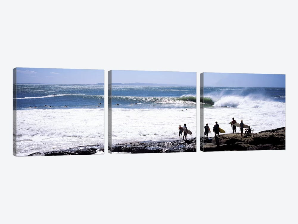 Silhouette of surfers standing on the beach, Australia #2 by Panoramic Images 3-piece Canvas Art