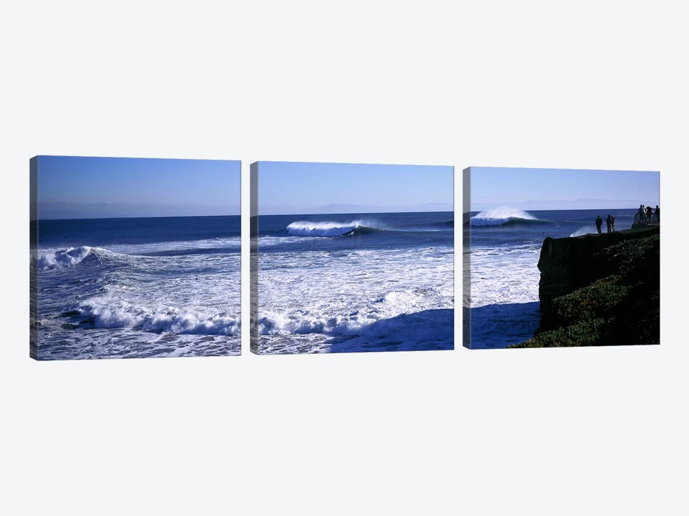 Cresting Ocean Waves, Santa Cruz County, California, USA by Panoramic Images 3-piece Canvas Art Print