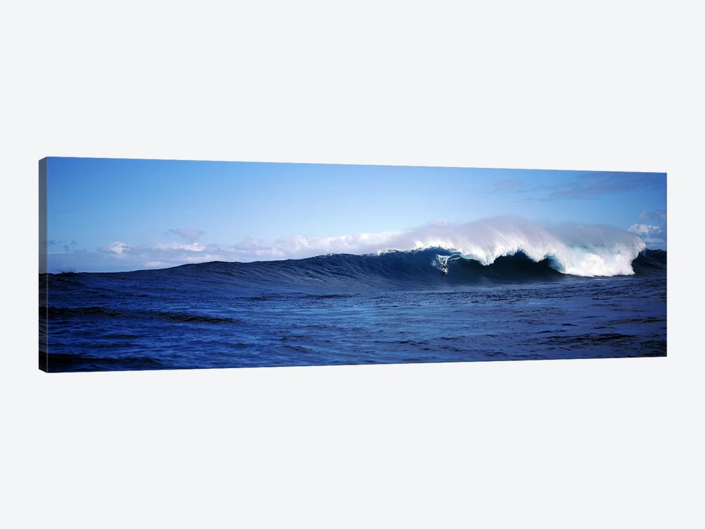 Distant View Of A Surfer On A Cresting Ocean Wave by Panoramic Images 1-piece Canvas Art Print