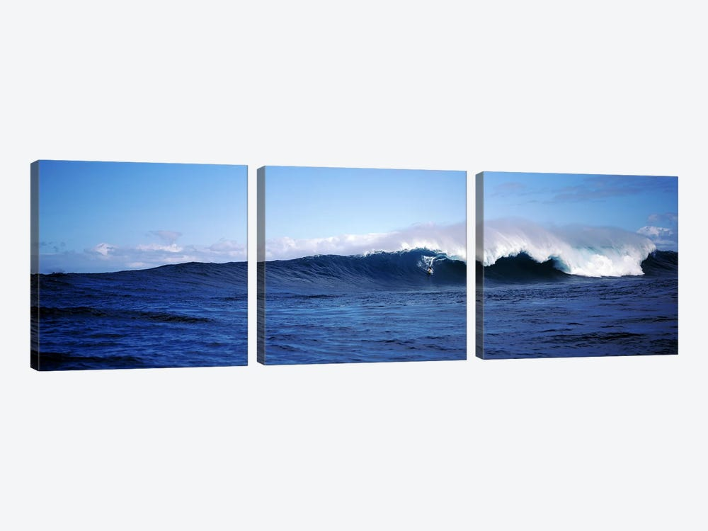 Distant View Of A Surfer On A Cresting Ocean Wave by Panoramic Images 3-piece Art Print