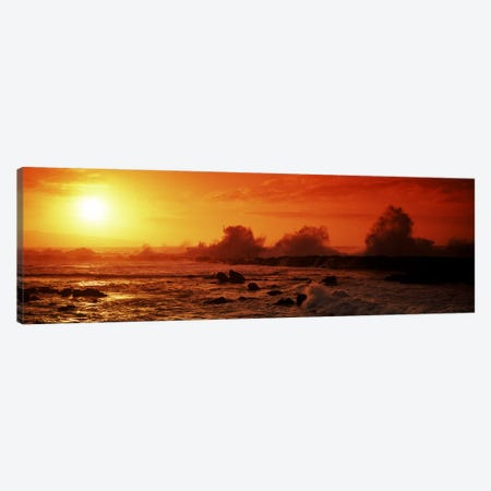 Waves breaking on rocks in the sea, Three Tables, North Shore, Oahu, Hawaii, USA Canvas Print #PIM7419} by Panoramic Images Canvas Wall Art