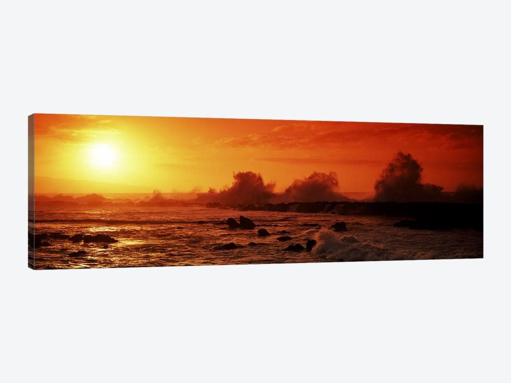 Waves breaking on rocks in the sea, Three Tables, North Shore, Oahu, Hawaii, USA by Panoramic Images 1-piece Canvas Art Print
