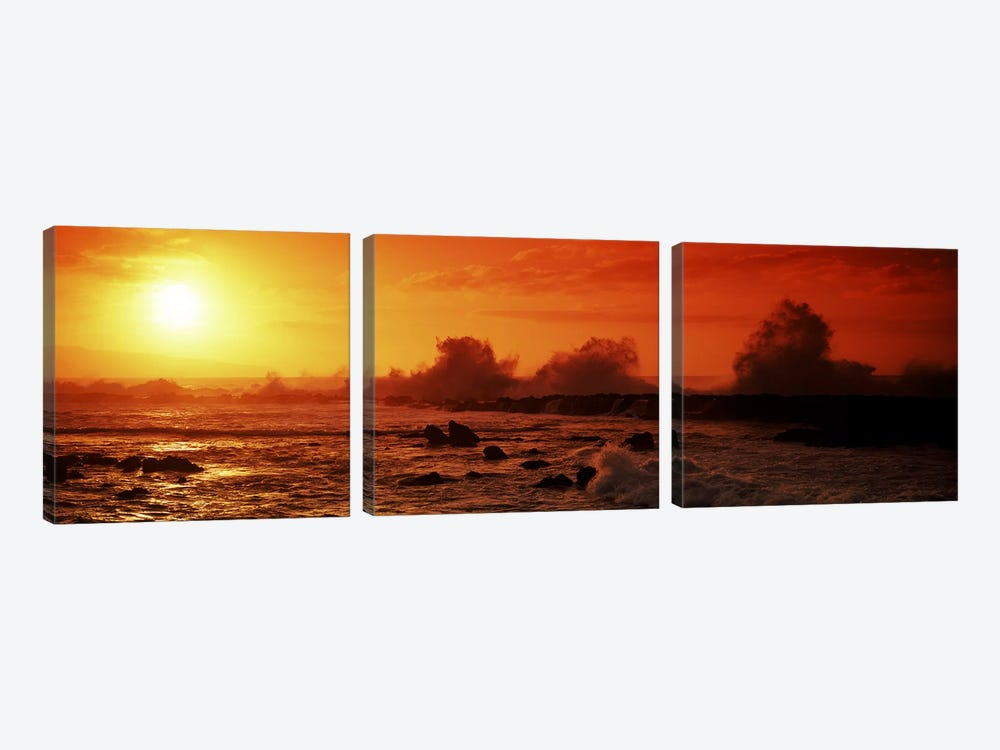 Waves breaking on rocks in the sea, Three Tables, North Shore, Oahu, Hawaii, USA by Panoramic Images 3-piece Art Print