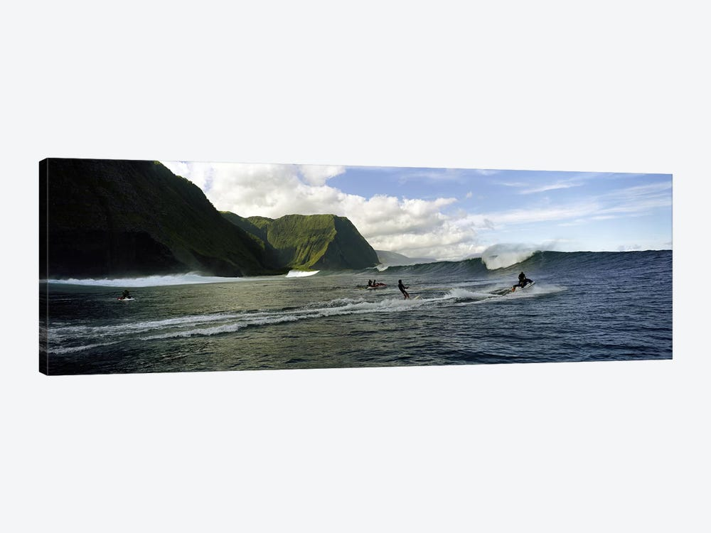 A Surfer Being Escorted To A Cresting Ocean Wave, Hawaii, USA by Panoramic Images 1-piece Canvas Art Print