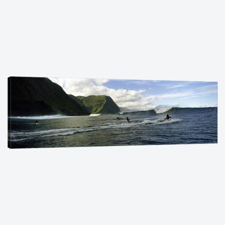 A Surfer Being Escorted To A Cresting Ocean Wave, Hawaii, USA Canvas Print #PIM7420} by Panoramic Images Canvas Print